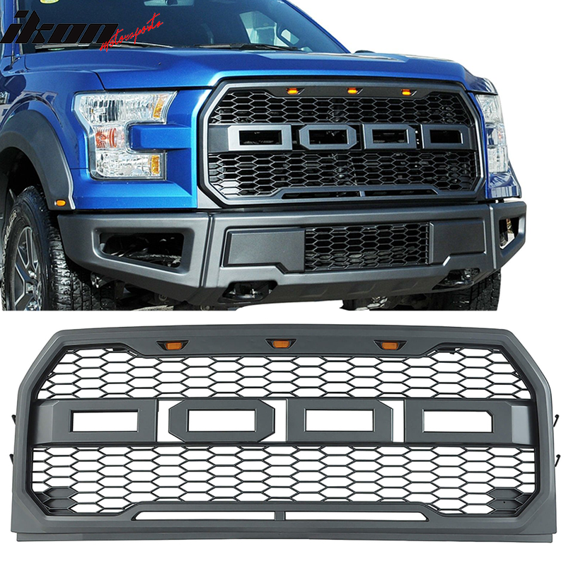Compatible for 2015-2017 Ford F150 Raptor Style Front Grill Bumper Hood Mesh Grille W//LED Matte Black