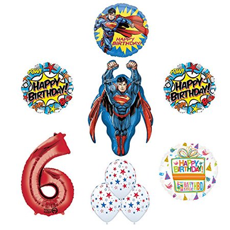 Superman 6th Birthday Party Supplies and Balloon Decorations - Superman Party Decorations