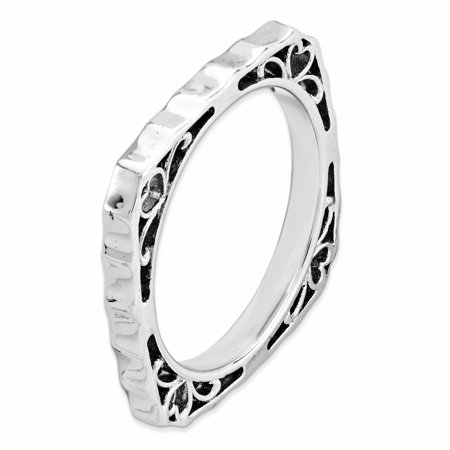 Sterling Silver Stackable Expressions Polished Rhodium-plate Square Ring Fashion Jewelry For Women Gifts For Her - image 3 de 6