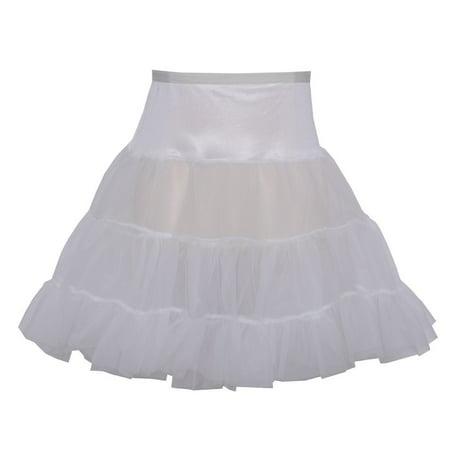 Angels Garment Girls White Ruffled Stretchy Waistband Short Petticoat 7-14