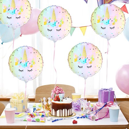 KABOER 5pcs 18 Inch Unicorn Theme Foil Balloon Kids Birthday Party Supplies  Vintage Decor (Soccer Themed Birthday Party Supplies)