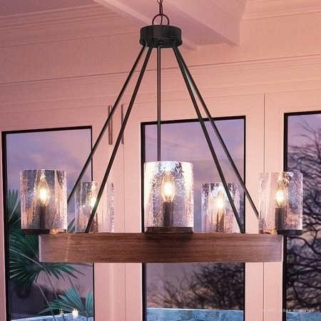 """Urban Ambiance Luxury Rustic Chandelier, Medium Size: 24.5""""H x 27.5""""W, with Vintage Style Elements, Grey Ash Wood Design, Natural Black Finish and Seeded Glass, UQL2450"""
