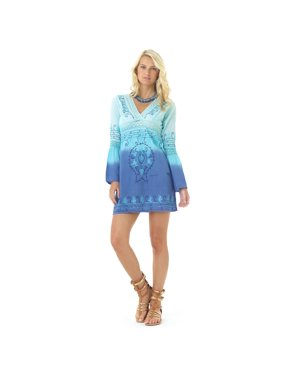5aa20f16d17c9 Product Image Lagaci Moroccan Moon Dress, Dip Dyed Embroidered V-Neck Cover  Up w Bell Sleeve