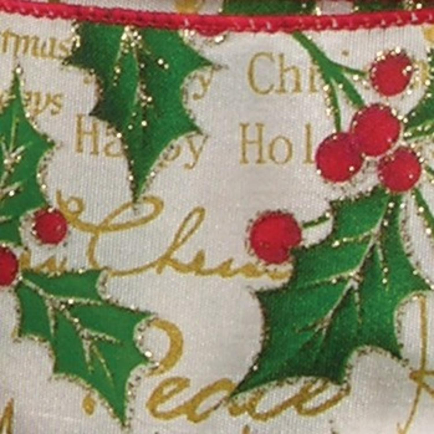 "Ivory Christmas Mistletoe Motif Wired Craft Ribbon 2.5"" x 20 Yards"
