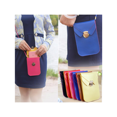 Leather Package - Fashion  Leather Shoulder Bag Woman Strap Wallet Purse Mobile Phone Package for under 5.8 Cellphone