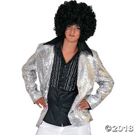 Funny Fashions Mens Retro Disco Dancers Sparkly Sequin Silver Jacket Costume, Small (38-40) Mens Disco Jacket