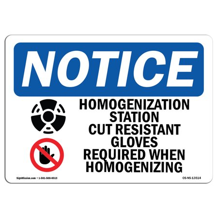 Cut Station (OSHA Notice Sign - Homogenization Station Cut Resistant | Choose from: Aluminum, Rigid Plastic or Vinyl Label Decal | Protect Your Business, Construction Site, Warehouse & Shop Area | Made)