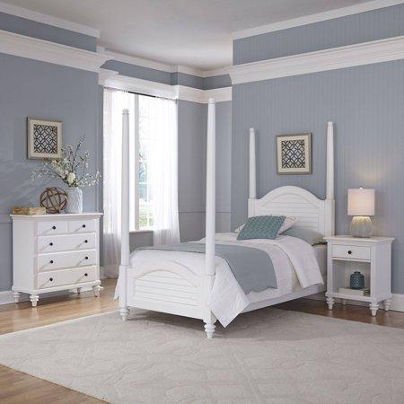 Home styles furniture bermuda white twin poster bed night for Home styles furniture walmart