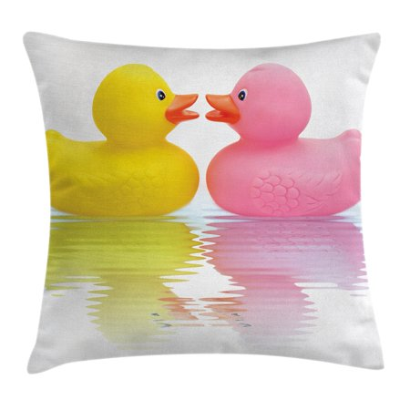 Rubber Duck Throw Pillow Cushion Cover, Rubber Duck Couple in Love Romantic First Love Childhood Kids Theme, Decorative Square Accent Pillow Case, 16 X 16 Inches, Yellow Pink White, by Ambesonne (Kid Couple)