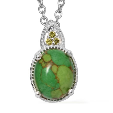 Mix Metal Green Turquoise Peridot Cubic Zirconia CZ Pendant Fashion Necklace for Women 20""