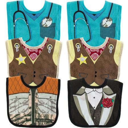Newborn Baby Boy Costumes (Set Of 6 Funny Baby Bibs Newborn Infant Girl Boy Cute Costume Burp Cotton)
