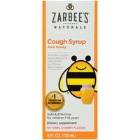 Zarbee's Naturals Children's Cough Syrup with Dark Honey, Cherry, 4 fl oz