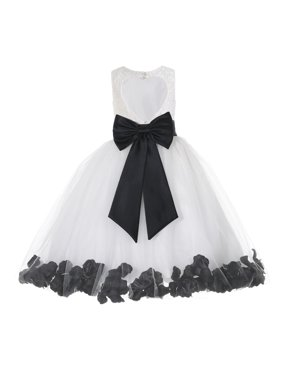 Ekidsbridal White Floral Lace Heart Cutout with Floral Petals Flower Girl Dress Girl Lace Dresses Easter Summer Dresses Communion Dress Baptism Dress Junior Bridesmaid Dress Ballroom Gown 185T