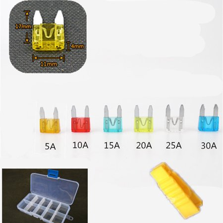 48Pcs Mini Blade Fuse Set for Auto Car Truck Motorcycle SUV ATM Assorted 5A, 10A, 15A, 20A, 25A, 30A Fuse Size S