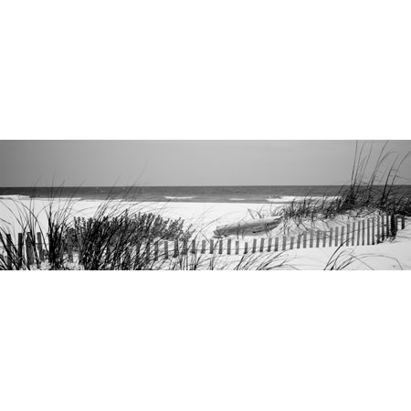 Fence on the beach Bon Secour National Wildlife Refuge Gulf of Mexico Bon Secour Baldwin County Alabama USA Poster Print