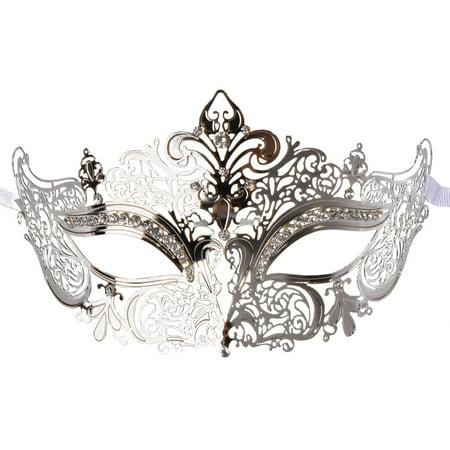 Coxeer Masquerade Mask Shiny Metal Rhinestone Venetian Pretty Party Evening Prom Mask
