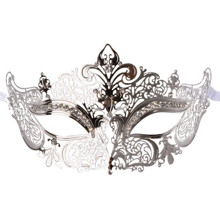 Coxeer Masquerade Mask Shiny Metal Rhinestone Venetian Pretty Party Evening Prom Mask