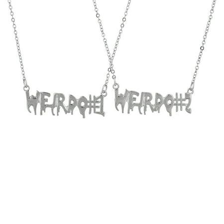 Lux Accessories SilverTone Weirdo 1 2 BFF Best Friends Forever Necklace Set