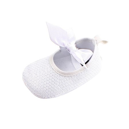 Tommyfit Baby Girls Princess Glitter Sequins Bow-tie Anti-slip Soft Sole Crib Shoes Size 3 - Blue Glitter Shoes For Girls