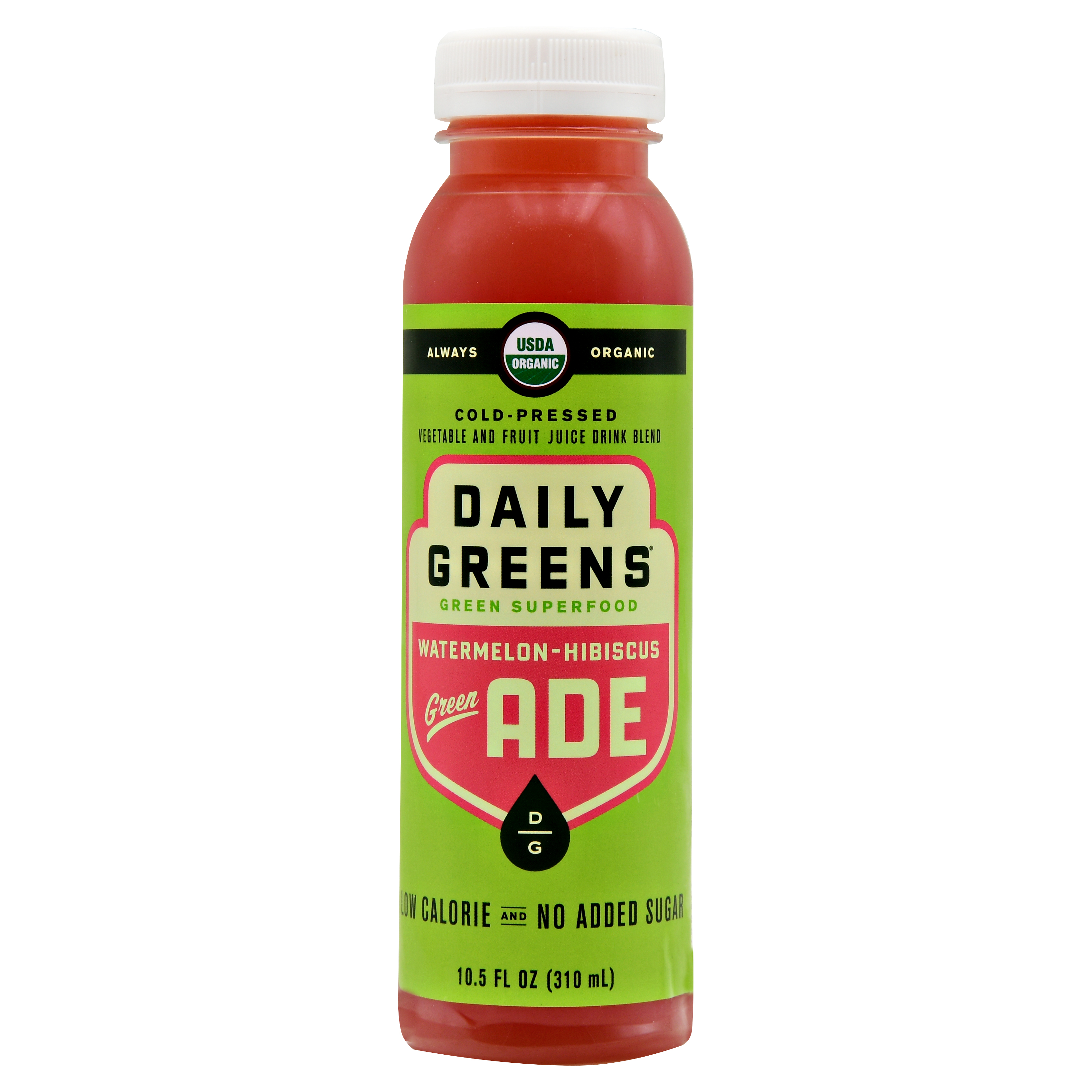Watermelon-Hibiscus Green-Ade: Drink Daily Greens Organic Green-Ade 10.5oz