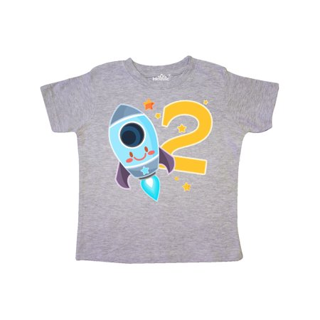 Rocket Space ship Happy Second Birthday Toddler T-Shirt