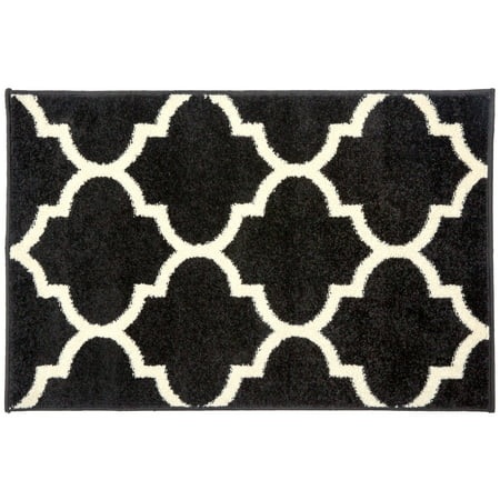 Gold Contemporary Heart - Contemporary Modern Moroccan Trellis Rug 2' x 3' Black