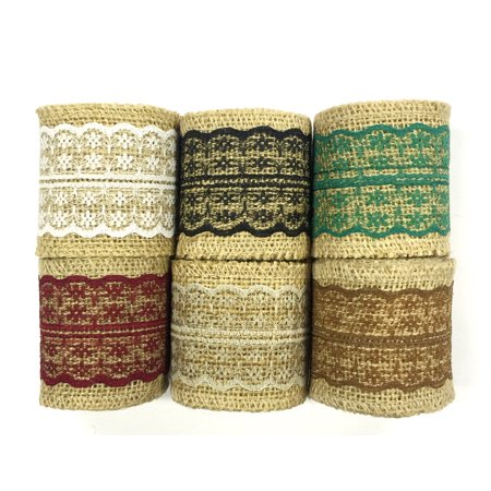Wrapables® Hessian Burlap with Lace Ribbon 2.5 Inch Width x 2 Yards Length (Set of 6), Black/Burgundy/Green/Brown/White/Gray