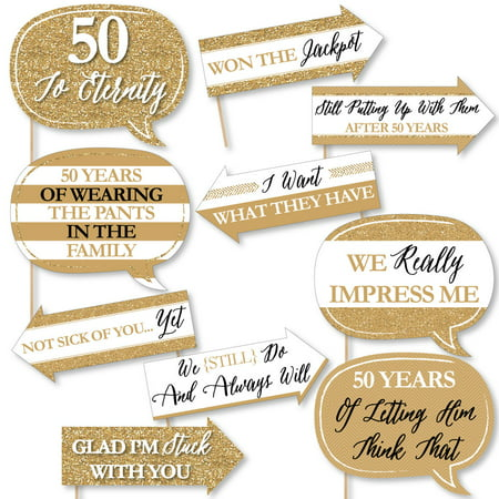 Funny We Still Do - 50th Wedding Anniversary - Anniversary Party Photo Booth Props Kit - 10 Piece - Halloween Wedding Anniversary Party