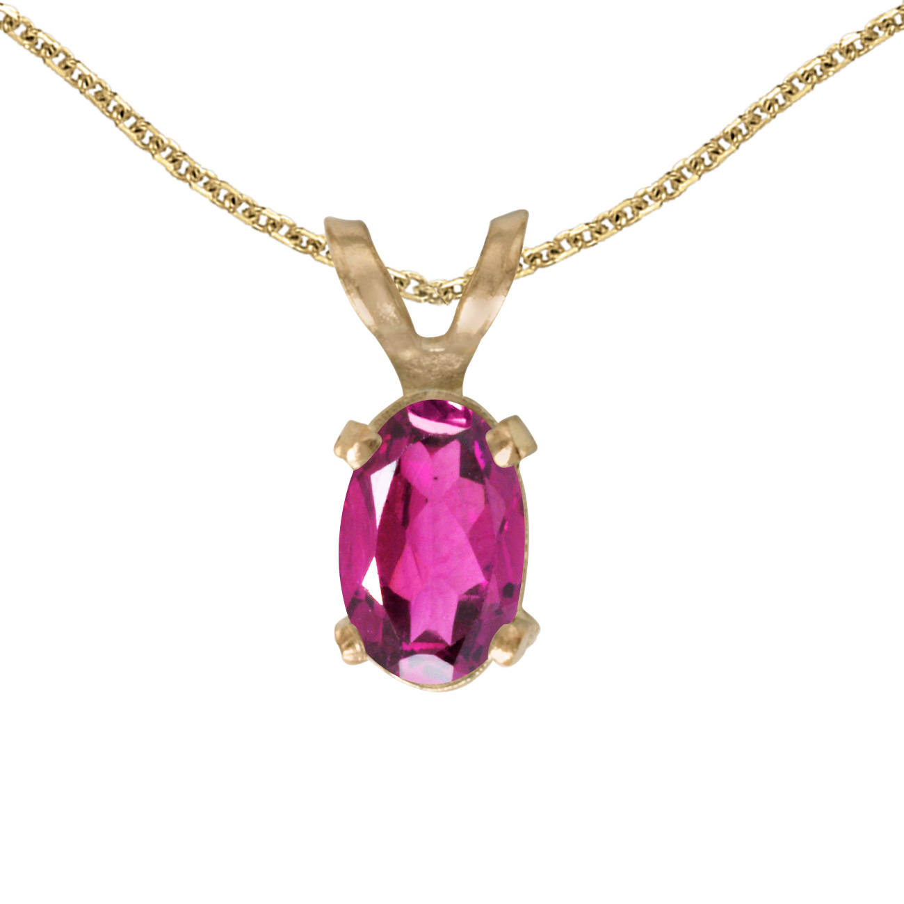 "10k Yellow Gold Oval Pink Topaz Pendant with 16"" Chain by Yellow-Gold Pins"