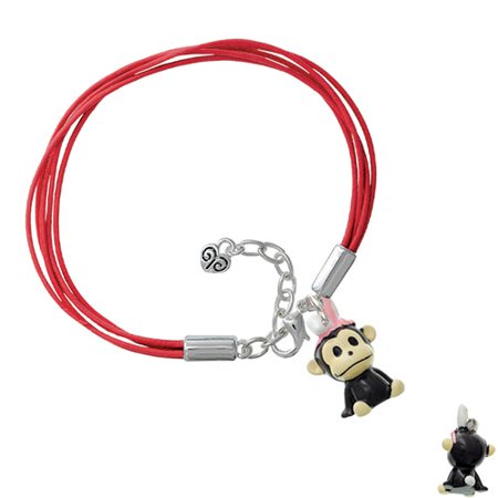 Resin Monkey with Bunny Ears Red Leather Aruba Bracelet - Red Bunny Ears