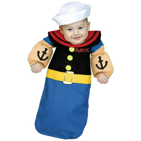 Popeye Baby Bunting Infant Halloween Costume, 6-12 - Popeye Toddler Costume