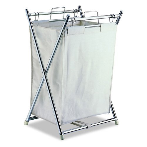 Organize It All Folding Hamper with Canvas Pull-out Bag - Chrome