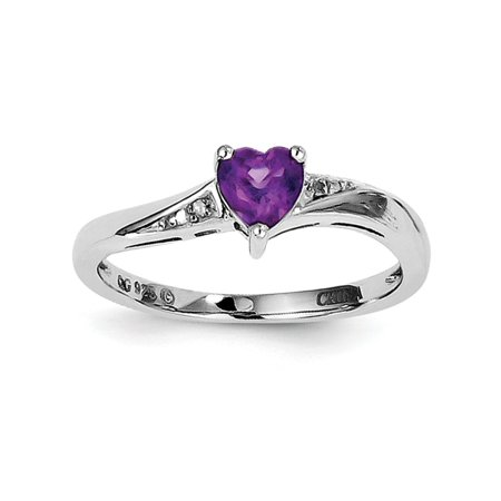 925 Sterling Silver Heart Cut Amethyst and Diamond Engagement Ring, 0.42 Cttw
