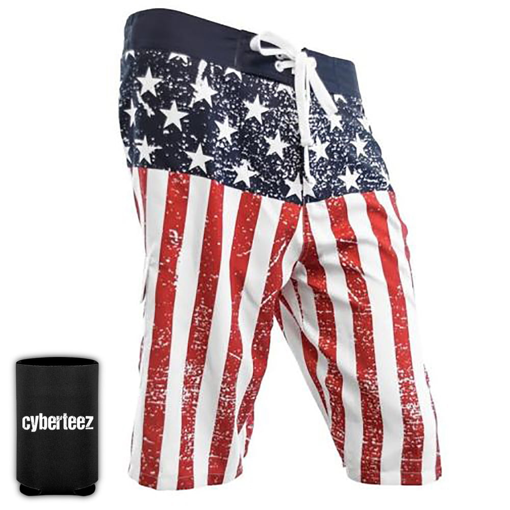 USA American Flag Old Glory Mens B//W Patriotic Board Shorts Swim Trunks Coolie