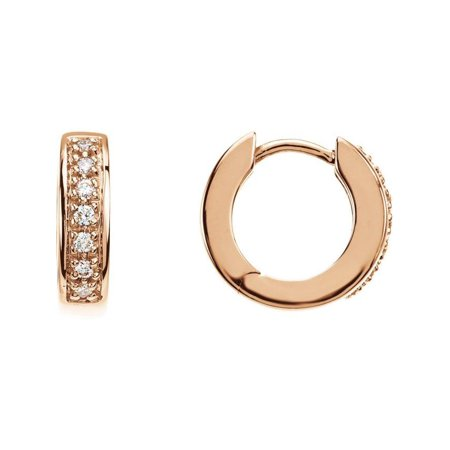 1/6 ct tw SI1 G-H Diamond Hoop Earrings in 14k Rose