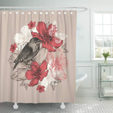 YUSDECOR Vintage Flower Bird Butterfly and Flowering Apple Trees Blossom Bathroom Decor Bath Shower Curtain 66x72 inch - image 1 de 1