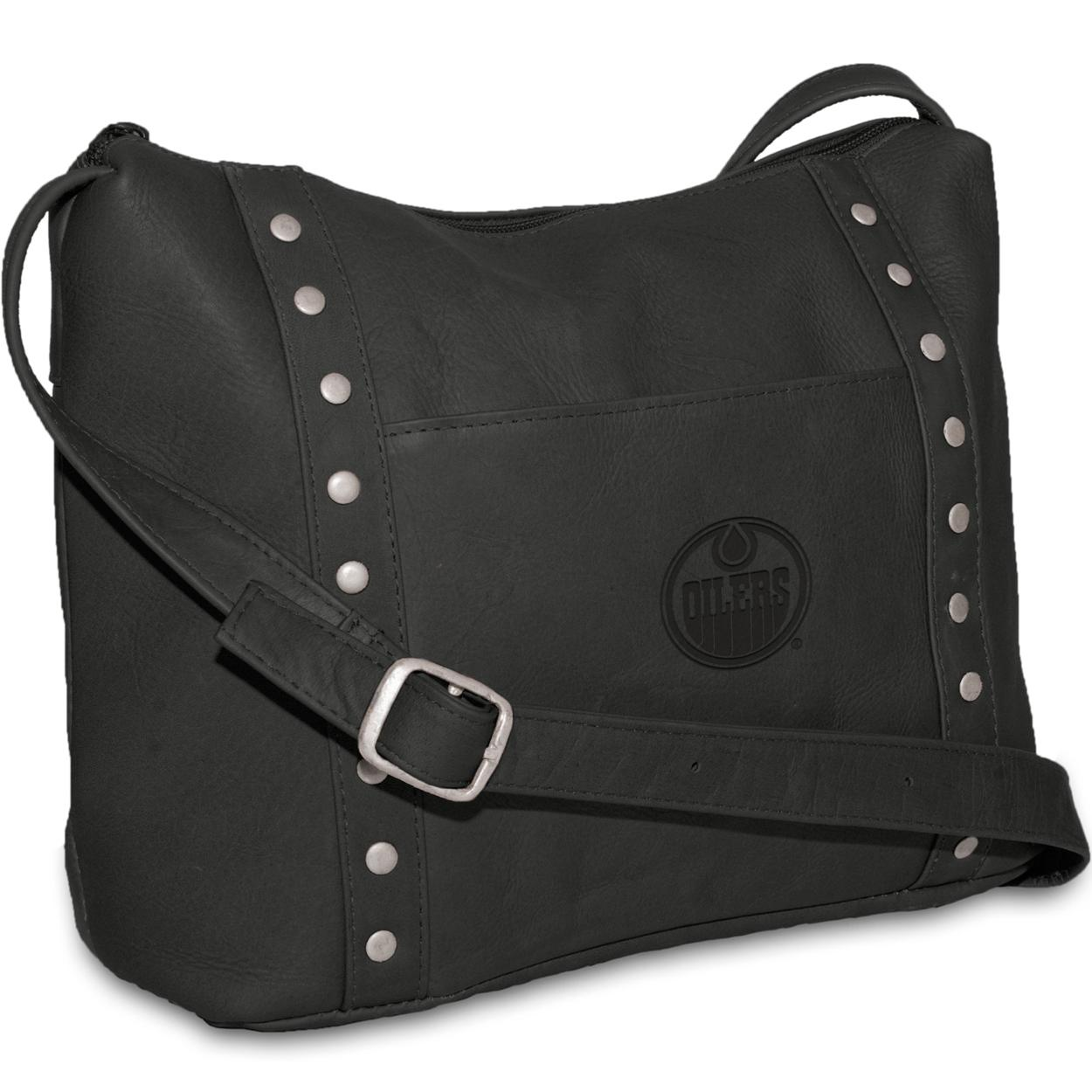 Pangea Black Leather Women's Top Zip Handbag - Edmonton Oilers Edmonton Oilers PANGHKYEDMHBB