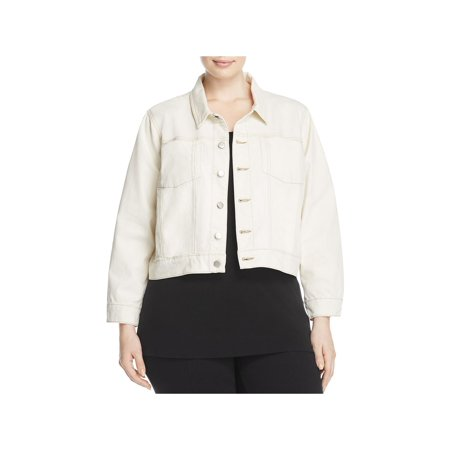 Eileen Fisher Womens Plus Cropped Contrast Stitching Jean Jacket