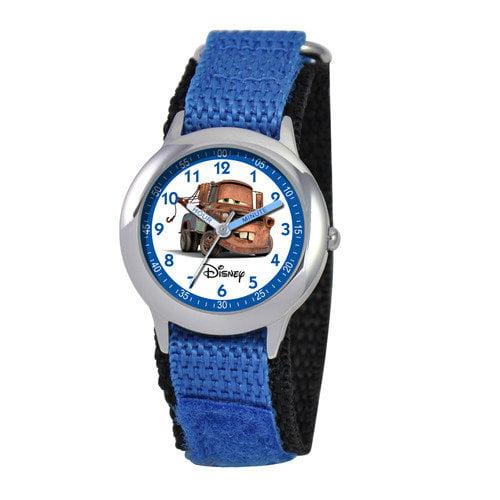 Disney Watches Kid's Cars Time Teacher Hook and Loop Fastener Watch in Blue