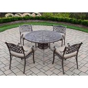 Oakland Living Corporation Cast Aluminum 5-piece Dining Set, with Table, and 4 Cushioned Chairs