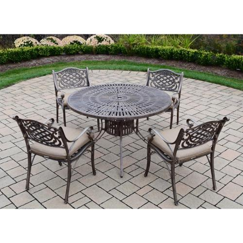 Oakland Living Corporation Dakota Sun Cast Aluminum 5-piece Dining Set, with 48-inch Table, and 4 Spun Polyester Cushioned Chairs