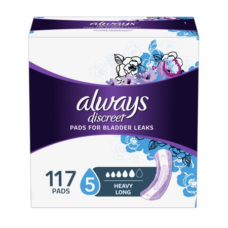 Always Discreet Incontinence Pads for Women, Heavy Absorbency, Long Length, 117