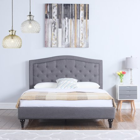 classic dark grey box tufted fabric bed frame full. Black Bedroom Furniture Sets. Home Design Ideas