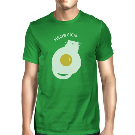 Meowgical Cat And Fried Egg Mens Green Halloween Cat Lovers Tshirt](Halloween Egg Throwing)