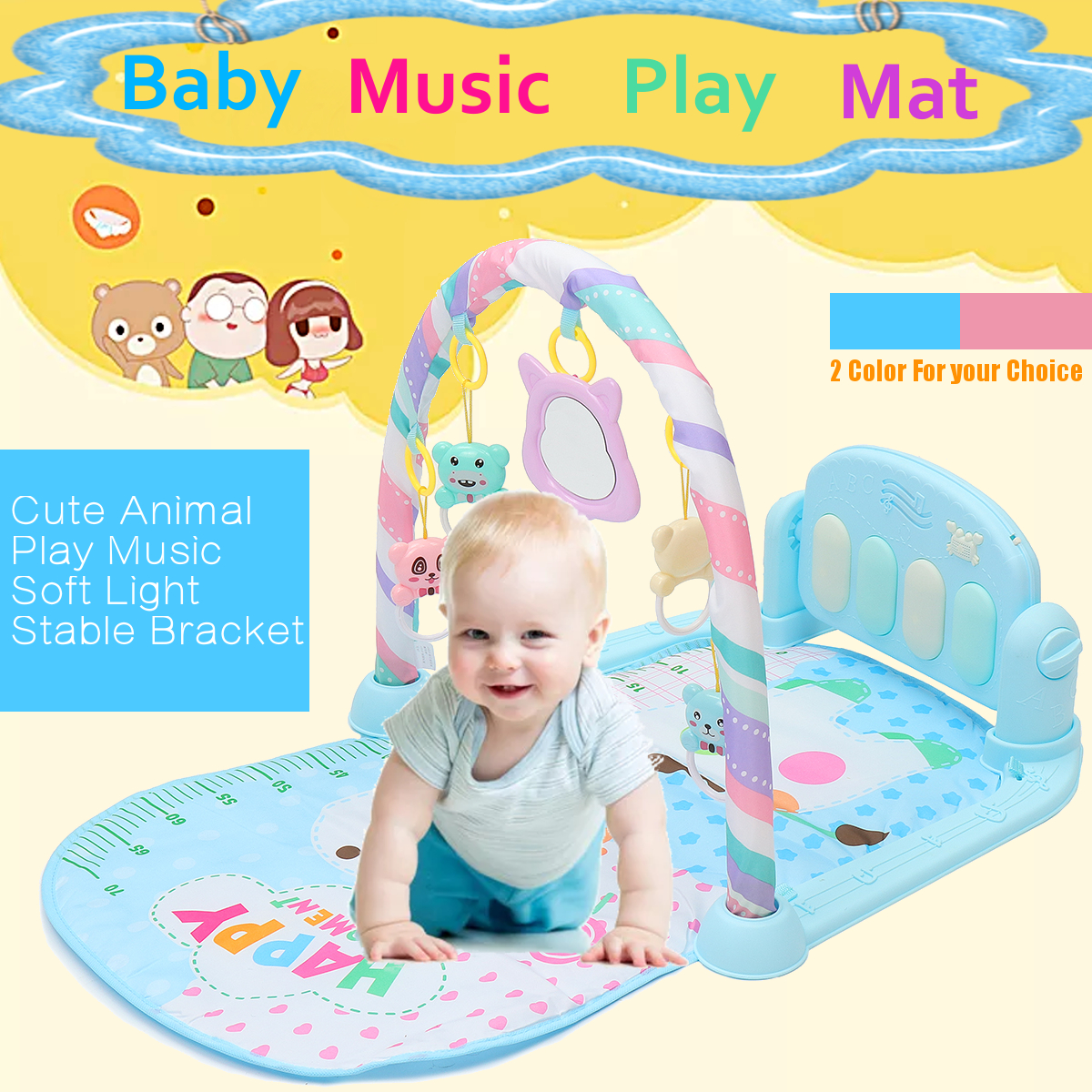 3 IN 1 Infant Baby Kids Fitness Play Musical Piano Toy Gym Exercise Mat Playmat Crawling Tummy Time Soft Toddler Toy
