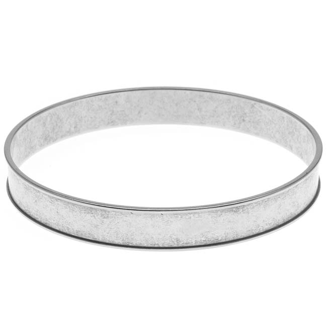 Nunn Design Antiqued Silver Plated Round Channel Bangle Bracelet - 2 3/4 Inch