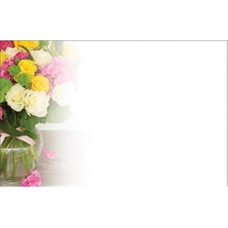Mid Spring (Design 88 88083 Enclosure Card - Mixed Spring Bouquet in Glass Vase with Pink Ribbon)