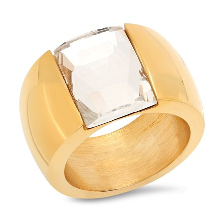 Ladies Gold Tone Stainless Steel Crystal Band Ring in 2 Colors