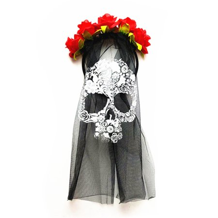 Scary Dresses For Halloween (Mozlly Mozlly Day of the Dead Skull Veil Black Headpiece w/ Red Flowers Mask Halloween Costume Scary Wedding Veil Outfit Horror Dress Up Masquerade Ghost Face Accessory 14.75