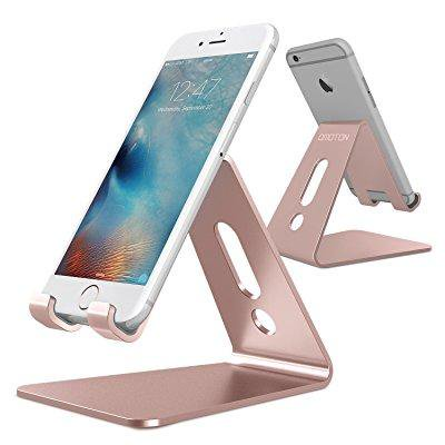 [updated solid version] omoton desktop cell phone stand tablet stand, advanced 4mm thickness aluminum stand holder for mobile phone (all size) and tablet (up to 10.1 inch), rose (Version Stand)